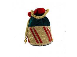 Brown Leaf Potli Bag for women Girls & Ladies green