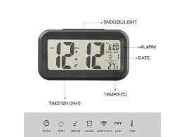 Nightlights Temperature Battery Operated Optically Controlled Liquid Crystal Alarm Clock (White)