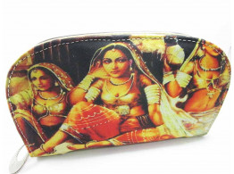 Brown Leaf Rajasthani Printed Regular Series hand wallet clutch for women, Girls Ladies