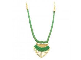 Archiecs Creations Alloy Silk Thread Green & Golden Charm Necklace for Women