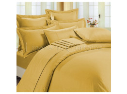 Egyptian Cotton Beddings Solid Bed Sheet With Pillow Covers - Gold