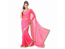 Archiecs Creations Alluring Jaipuri Gota Patti Chiffon Saree (With Blouse Piece) - Light Pink