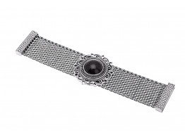 Archiecs Creations Oxidised White Metal Black Artificial Stone Stud Bracelet for Women
