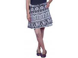 Printed Womens Cotton Wraparound Short Skirt