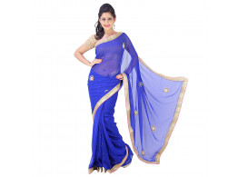 Archiecs Creations Adorning Jaipuri Moti Work Chiffon Saree (With Blouse Piece) - Blue