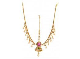SPE Indian Ethnics Golden Maang Tikka for Women (FHL-03)