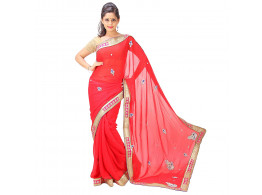Archiecs Creations Stunning Jaipuri Nakashi-Moti Work Pure Viscose-Georgette Saree (With Blouse Piece) - Red