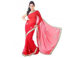 Archiecs Creations Alluring Jaipuri Gota Patti Chiffon Saree (With Blouse Piece) - Red