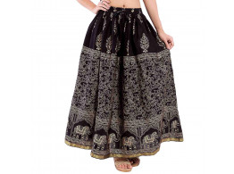 Archiecs Creation Self Design Women's Regular Black with animal print Skirt (Free Size-SKT512)