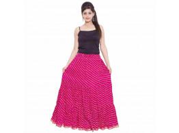 Archiecs Creation Self Design Women's Regular Jaipuri Laheria Pink Skirt with Full Ghera (Free Size-SKT503)