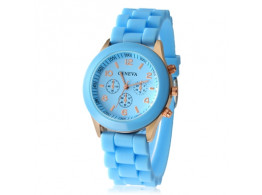 Angelfish Women's or Girl's Watch Fashion Silicone Strap Candy Color Length 25Cm Blue