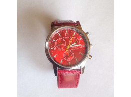 Angelfish Men's & Women'S Watch Circle Cool Movement Length 25.5Cm Alloy With PU Strap Watch Red