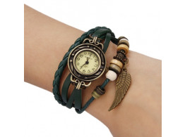 Women's Watch Bohemian Leaf Pendent Leather Weave Bracelet