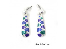 Angelfish silver color alloy colorful enamel dangle earrings