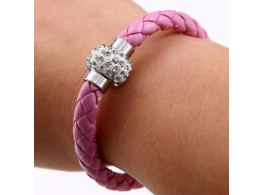 Pu Leather Crystal Bracelet With Magnet Clasp - Purple