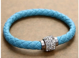 Pu Leather Crystal Bracelet With Magnet clasp - Skyblue