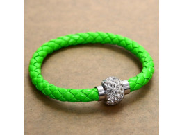 Pu Leather Crystal Bracelet With Magnet Clasp - Parrot Green