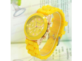 Women's or Girl's Watch Fashion Silicone Strap Candy Color Length 25Cm Yellow