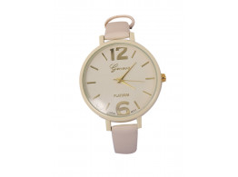 Anglefish Off White Color Round case Dial Analog Leather Luxury Automatic Wrist Watch