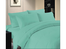 Egyptian Cotton Beddings Solid Bed Sheet With Pillow Covers - Aqua Blue