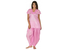 Archiecs Creation Women's Satin Baby Pink Nightdress With Patiyala