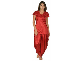 Archiecs Creation Women's Satin Maroon Nightdress With Patiyala