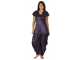 Archiecs Creation Women's Satin Purple Nightdress With Patiyala