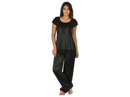 Women's Satin Shin Black Top and Pyjama Night Suit-Nightdress (Free Size)