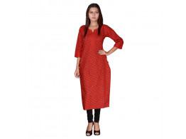 Bhoomi Red with lehriya print kurti