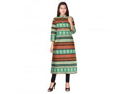 Bhoomi Casual Green Printed Women's Kurti
