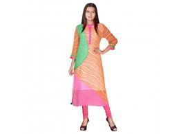 Bhoomi Pink - Orange Georgette lehriya Print Kurti
