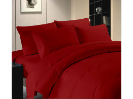 Egyptian Cotton Beddings Solid Bed Sheet With Pillow Covers - Burgundy