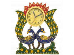 Double peacock Paiper Mache Wall Clock