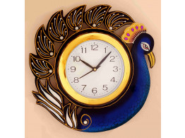 Peacock Painted Wooden Wall Clock
