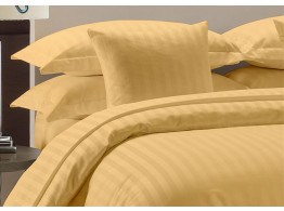 Egyptian Cotton Beddings Bed Sheet With Pillow Covers - Gold Striped