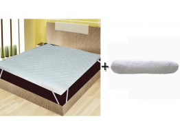 "India Furnish Waterproof Quilted Mattress Protector With Elastic Band King Size - White 75""x72"" + 1 white bath towel combo"
