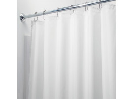 InterDesign Mildew-Free Water-Repellent Fabric Shower Curtain 72-Inch by 84-Inch White