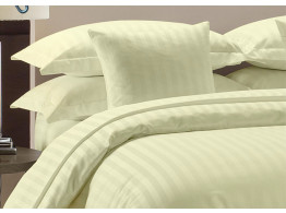 Egyptian Cotton Beddings Bed Sheet With Pillow Covers - Ivory striped