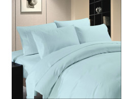 Egyptian Cotton Beddings Solid Bed Sheet With Pillow Covers - Light Blue