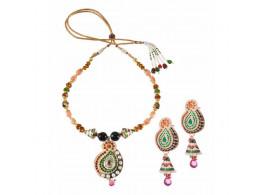 Vatika Jewellers Intricate Meenakari Pendant Set