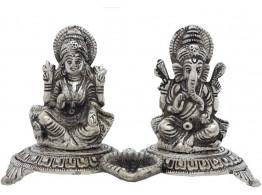 Divinecrafts White Metal Laxmi-Ganesha Statue With Small Diya Showpiece - 12.7 cm  (Aluminium, Silver)