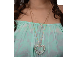 Trinetra Rhodium Plated Alloy Necklace