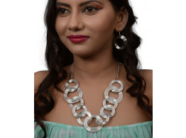 Trinetra Rhodium Plated Alloy Necklace Set