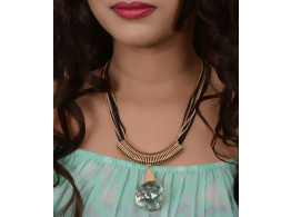 Trinetra Beads Rhodium Plated Alloy Necklace