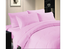 Egyptian Cotton Beddings Solid Bed Sheet With Pillow Covers - Pink