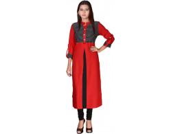 Pneha Casual Solid Women's Kurti  (Red, Black)