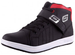 RUDOSE Men's Red & Black Velcro Ankle Length Synthetic Leather Casual Shoes