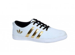 RUDOSE Mens White Stylish Casual Canvas Sneakers with Golden strips