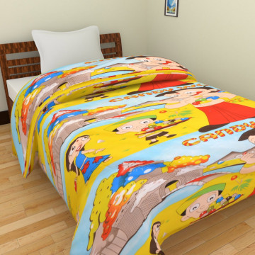 KRISHNA Cartoon Candy World With Chota Bheem Print Single Ac Blanket - Multicolour
