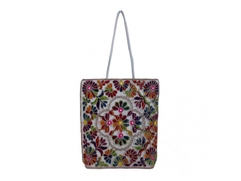 The Living Craft Wollen Embroidery Women's TOTE Multicolor TLCBG0284